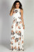 """We Belong Together"" White Floral Print High Neck Cinch Waist Maxi Dress"