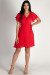 """Summer Sippin'"" Red Ruffled Shoulder Dress"