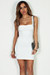 """""""Always On Time"""" Off White Layered Square Neck Mini Dress"""