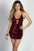 """Serendipity"" Red Sequin Diamond Pattern Strappy Mini Dress"