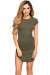 """Ciara"" Olive Ribbed Jersey Short Sleeve Bodycon Casual Tunic Dress"