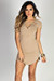 """Livia"" Nude Short Sleeve Tunic Sexy Lace Up T Shirt Dress"