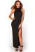 """Britta"" Black MockneckThigh High Slit Bodycon Jersey Maxi Dress"