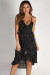 """Enough Said"" Black Polka Dot Wrap Ruffled Dress"