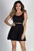 """Downtown Babe"" Black Lace Belted A-Line Skater Dress"