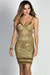 """""""Diandra"""" Metallic Gold Sparkly Glitter Bustier Dress"""