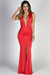 """Jessica"" Scarlet Red Sleeveless Plunging Deep V Glam Maxi Dress"