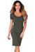 """Prue"" Olive Green Short Sleeve Jersey Bodycon Casual Dress"