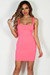 """""""Always On Time"""" Neon Pink Layered Square Neck Mini Dress"""
