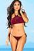 Gardenia Burgundy Halter Top & Sexy Micro Scrunch Bottom Crochet Bikini Swimsuit