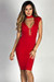 """""""Linda"""" Red Cap Sleeve Plunging Lace Up Choker Dress"""