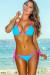 Tokyo Aqua Blue & Pink Triangle Top & Single Rise Sexy Polka Dot Bikini