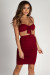 """""""Out Of Love"""" Burgundy Two Piece Bandeau & Ruched Skirt Set"""
