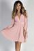 """Social Butterfly"" Rose Pink Classy Ribbon Sleeve Surplice Dress"