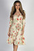 """Well Dressed"" Cream Floral 3/4 Sleeve A Line Wrap Dress"