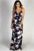 """Summer Love"" Navy Floral Print Strappy Breezy Summer Maxi Dress"