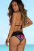 Black Tropical Print & Lace Martinique Bikini Top & Maui Bikini Bottom