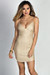 """Caia"" Taupe & Gold Glitter Spaghetti Strap Bodycon Party Dress"