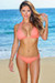 Solid Salmon Triangle Top & Sexy Triple Strap Classic Scrunch Bottom Bikini Swimwear