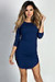 """Alaya"" Navy 3/4 Sleeve T-Shirt Tunic Dress"