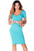 """Prue"" Aqua Blue Short Sleeve Jersey Bodycon Casual Dress"