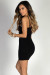 """Midnight Hour"" Black Strappy Neckline Spaghetti Strap Bodycon Mini Dress"