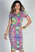 """Jamie"" Pink & Lime Moroccan Print Short Sleeve Bodycon T Shirt Midi Dress"