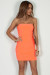 """No Feelings"" Neon Orange Ruched Tube Mini Dress"