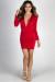 """Embrace"" Red Deep V Long Sleeve Mini Dress"
