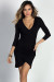 """Gemma"" Black 3/4 Sleeve Ruched Jersey Wrap Dress"