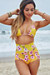 Waikiki Yellow Cherry Blossom Print Triangle Top & Scrunch Bottom Retro Sexy High Waist Bikini