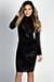 """""""Antonia"""" Black Long Sleeve Turtleneck Sheer Burnout Velvet Dress"""