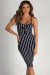 """Eye Candy"" Navy Striped Sweetheart Midi Dress"