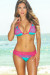 Maui Jade & Fuchsia Triangle Top Scrunch Bottom Sexy Lace Bikini Swimsuit