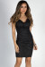 """After Sunset"" Black Glitter Strappy Crisscross Halter Dress"