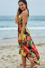 Rheingold Black Tropical Print Wrap Style Maxi Beach Dress