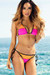 Zuma Neon Pink & Orange Triangle Top & Scrunch Bottom Sexy Color Block Swimwear