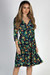 """""""Well Dressed"""" Navy Floral 3/4 Sleeve A Line Wrap Dress"""