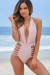 Zinnia Pink Plunging Halter Neckline High Waisted Swimsuit