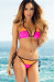 Zuma Hot Pink & Orange Triangle Top & Scrunch Bottom Sexy Color Block Swimwear