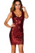 """""""Tina"""" Red Sleeveless Fitted Sequin Party Dress"""