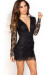 """Kerry"" Black Open Back Plunging Long Sleeve Lace Dress"
