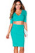 """Traci"" Mint Green 3/4 Sleeve V Neck Crop Top & Pencil Skirt 2 Piece Dress"