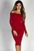 """Sabine"" Red Long Sleeve Off Shoulder Bodycon Midi Dress"