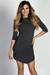 """Alaya"" Charcoal 3/4 Sleeve T-Shirt Tunic Dress"