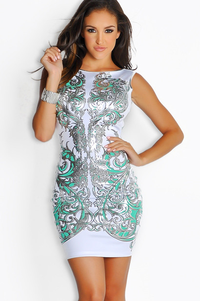 white and mint green silver designer print dress