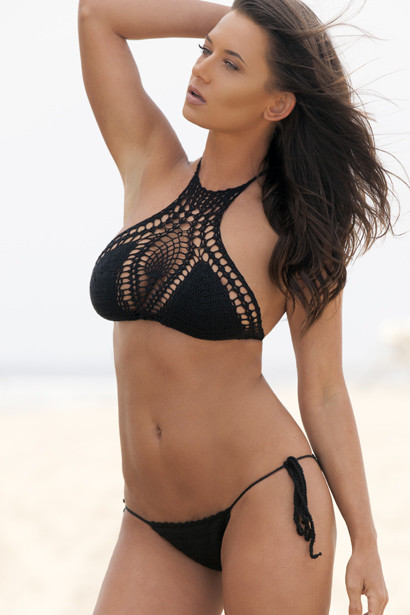 Black Crochet Halter Two Piece Bikini
