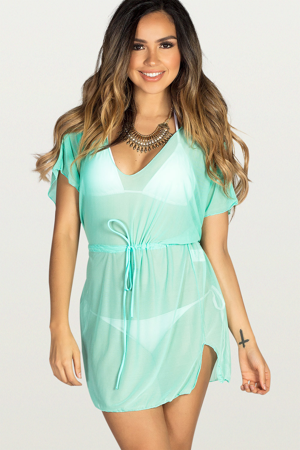 239f0f5ebe Afterparty Mint Mesh Hooded Cinch Waist Beach Cover Up