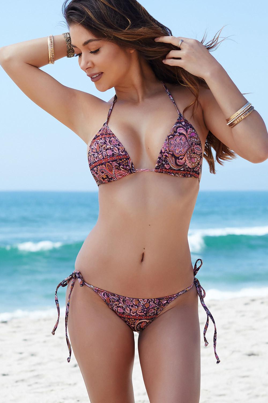 62bf943f359 Acapulco Versache Print Micro Scrunch Bottoms & Triangle Top Bikini