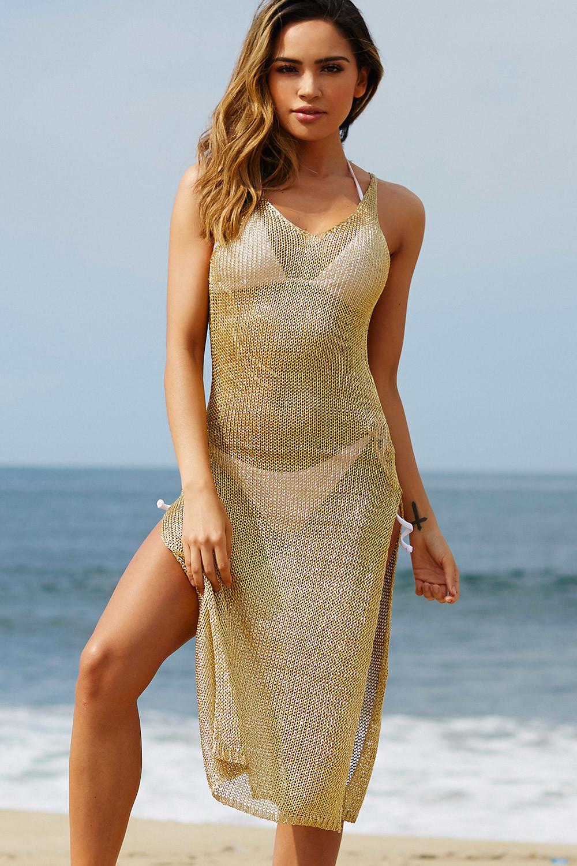 millionaire metallic gold maxi cover up dress